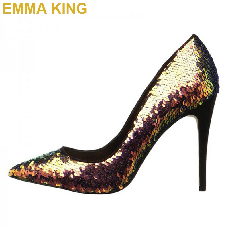 Bling Sequins Sexy Pumps Nightclub Party Dancing Shoes Women Stiletto Heels Pointed Toe Shallow Shoes Thin High Heels For Woman