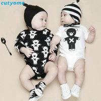 2017 Newborn Baby Boys Girls Bodysuits Clothes Bear Printed Long Short Sleeve Body Suit Twin Bebes