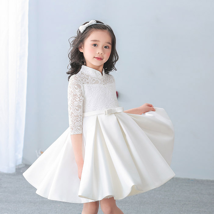 Red And White Lace Prom Dress: Elegant Girls Lace Half Satin Dress For Birthday Wedding