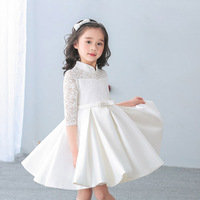 Elegant Girls lace Half Satin dress for Birthday wedding party Princess White Red Frocks Prom vestidos For 2 4 6 8 10 12 Years