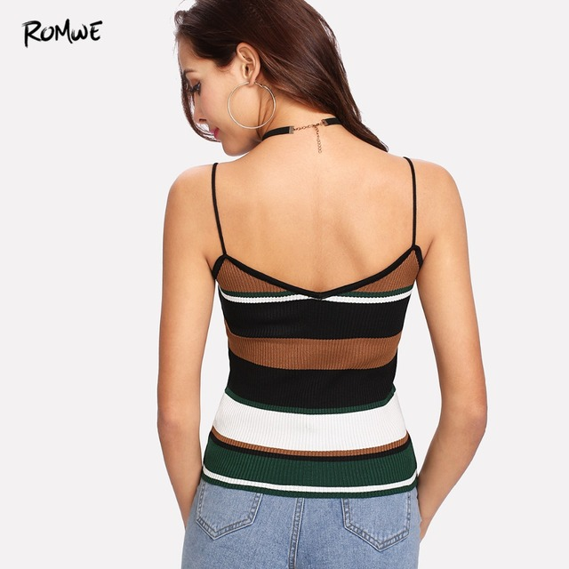 2d36c458457 ROMWE Color Block Stripe Cami Top Casual Ribbed Camisole Women Sexy ...