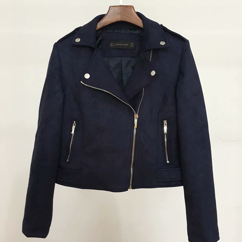 long sleeve zipper   suede   coat streetwear 2019 autumn women faux   suede     leather   biker jackets dark blue autumn outfit