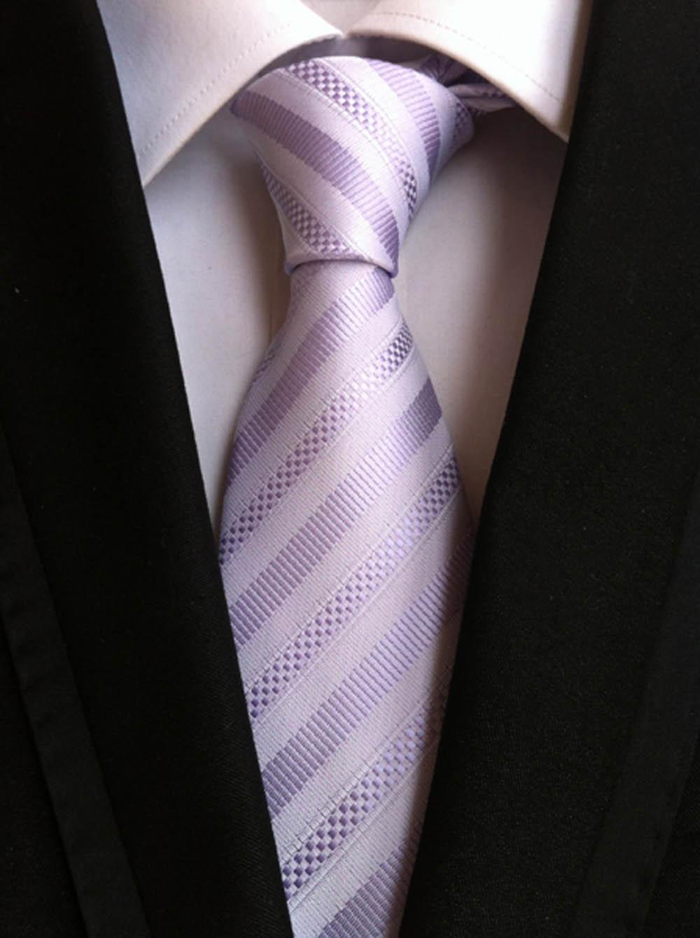 8 см классический тканый галстук мужской элегантный галстук Королевский синий с черными галстуки в полоску - Цвет: Picture Color