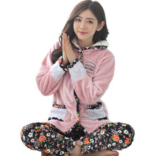 ea4e9756c Promotion Good quality Women Winter pajamas soft sleepwear warm flannel  pajamas set Clearance Sale Sweet Memory
