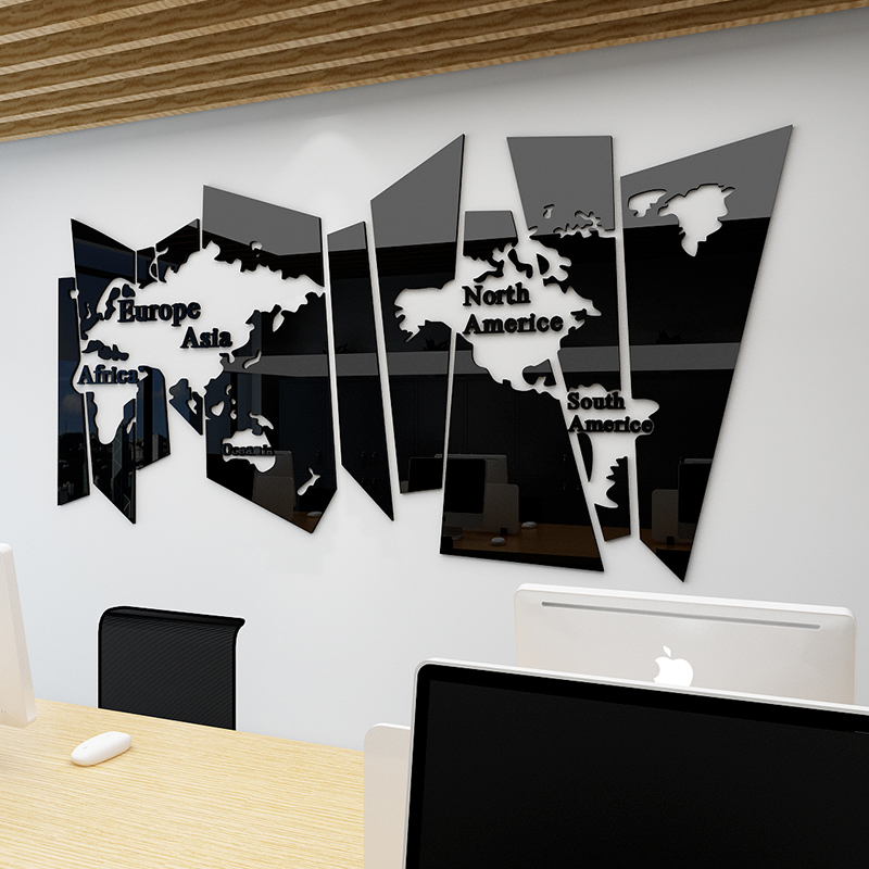wall decoration for office or sitting room large world map 3D waterproof acrylic mirror wall sticker