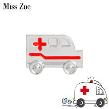 Ambulance Brooch Red Cross Pins Gold Silver Medical jewelry for MD Doctor Nurse Graduation gift for Medical students(China)