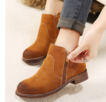 genuine cowsuede leather short ankle boots fashion preppy style women's casual snow work boots
