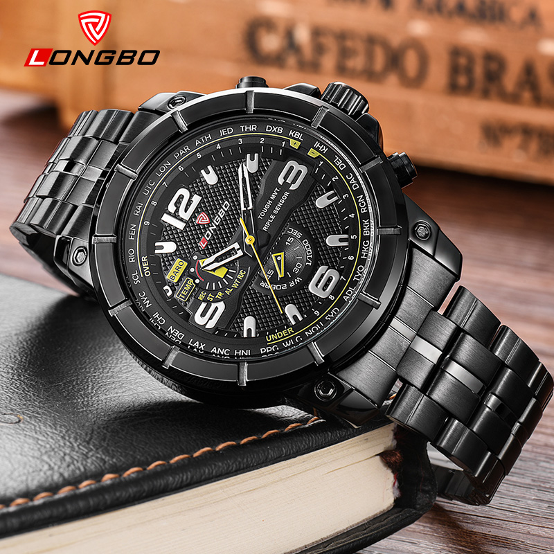 LONGBO 2018 Fashion Sport Men Quartz Watch Luxury Brand Stainless Steel Wrist Watches For Man Male Clock Hours Relogio Masculino longbo men and women stainless steel watches luxury brand quartz wrist watches date business lover couple 30m waterproof watches