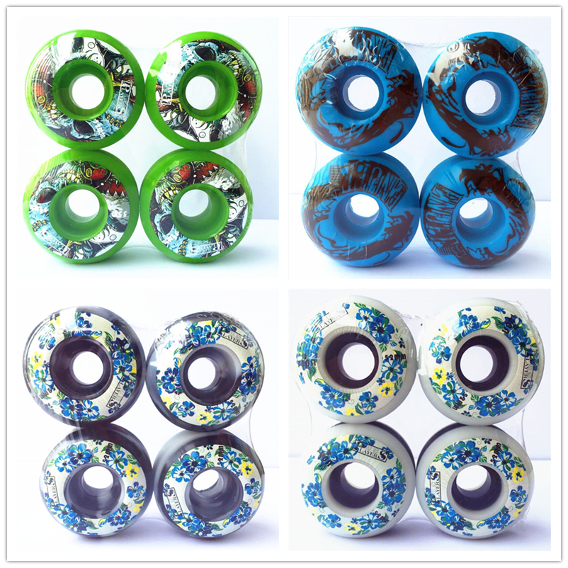 PRO 4pcs/set Skateboard Wheels 50/51/52/53/54mm PU Wheel Ruedas Skateboard Parts