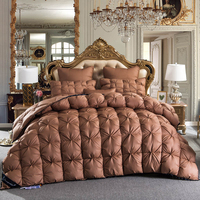 Coffee color Goose Down Duvet king queen full size Thick winter Quilted Stitching Quilt
