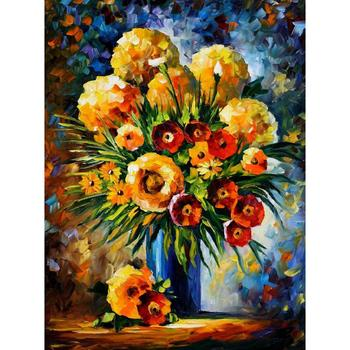 Wall art still life oil painting flowers of happiness abstract modern colorful flower canvas artwork for room decor