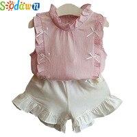 Sodawn 2017 Children Clothes Summer Girls Clothing Chiffon Pure Color Sleeveless T Shirt White Shorts 2Pcs