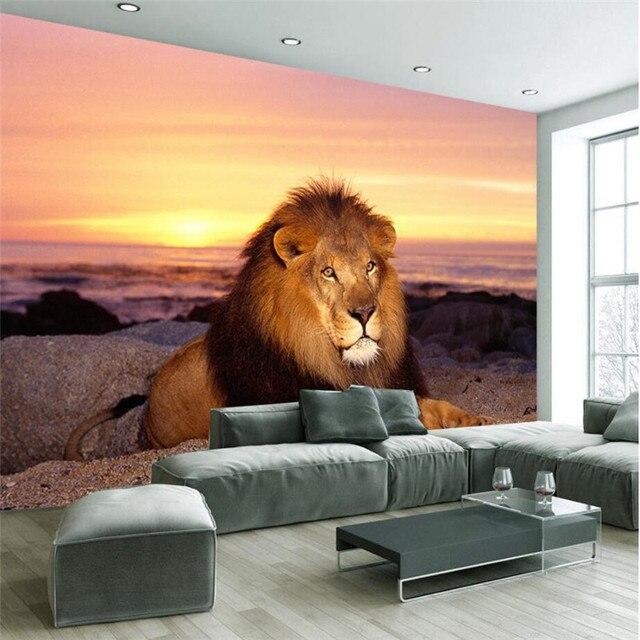 US $12.99 |Benutzerdefinierten Hintergrund Fototapete Sonnenuntergang  Mighty Lion Kunst Wandverkleidung TV Sofa Schlafzimmer Wandbilder Moderne  Tapete ...