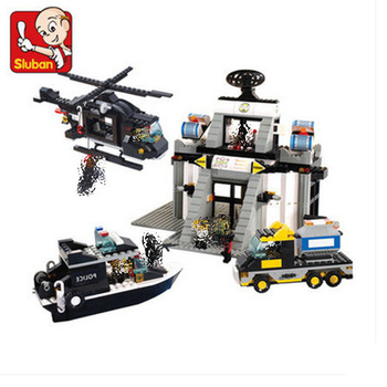 Sluban 2300 876Pcs Riot Police Series Science&Technology Center blocks Educational Toys For Children gifts Compatible With Toys