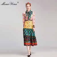 MoaaYina Fashion Designer Runway Classical Dress Autumn Women Long Sleeve Bowknot Beaded Floral Print Slim Elegant