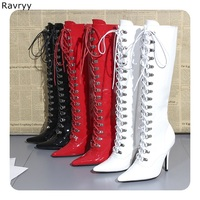 Red Patent Leather Woman long boots Cross tied Knee high Boot Hot Fashion Model Fun Club Party female booties thin heel shoes