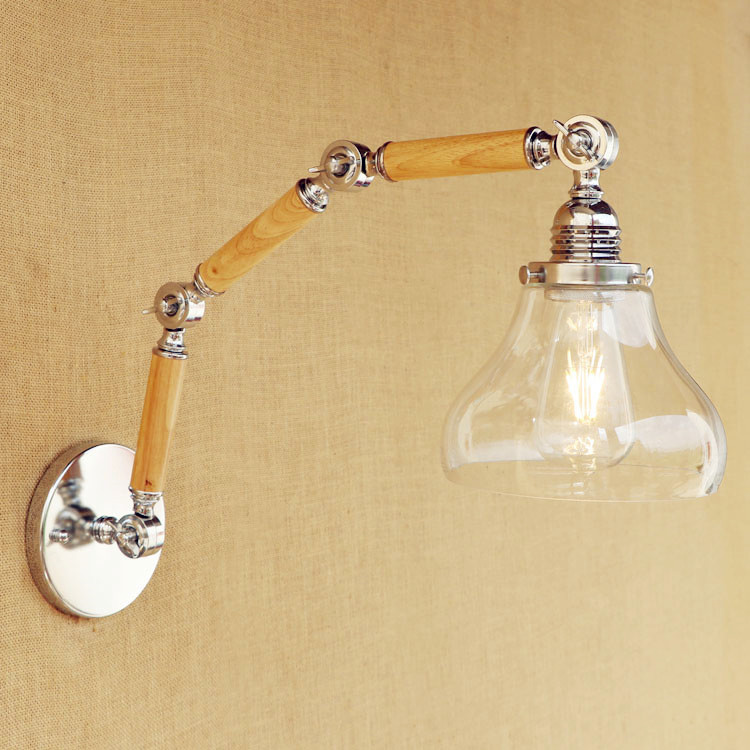Glass Swing Long Arm Light Wooden Vintage Wall Lamp Edison Style Loft Retro Industrial Wall Sconce Lampe LED Appliques Pared loft vintage edison glass light ceiling lamp cafe dining bar club aisle t300