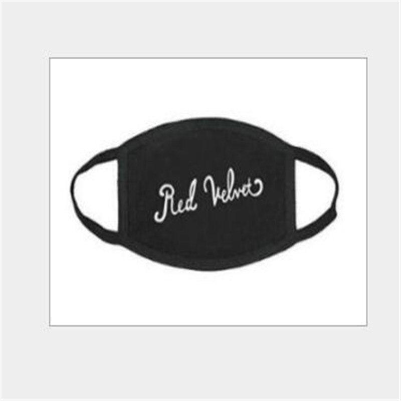 H029 Baumwolle Buchstaben Druck Weichen Maske Kpop Rot Samt Für Frauen Männer