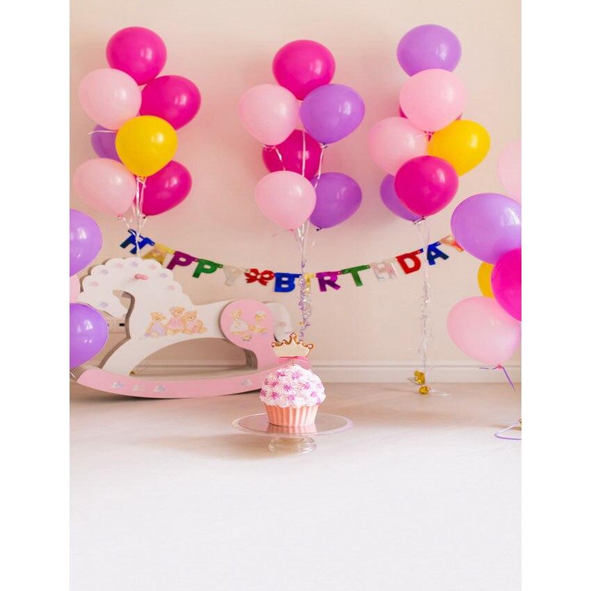Happy Birthday Vinyl Cloth Pink Balloons Hobbyhorse Party