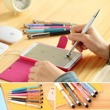 1 Pc Cute Crystal Pen Diamond Ballpoint Pens Stationery Ballpen 2 In 1 Crystal Stylus Pen Touch Pen Free Shipping(China)