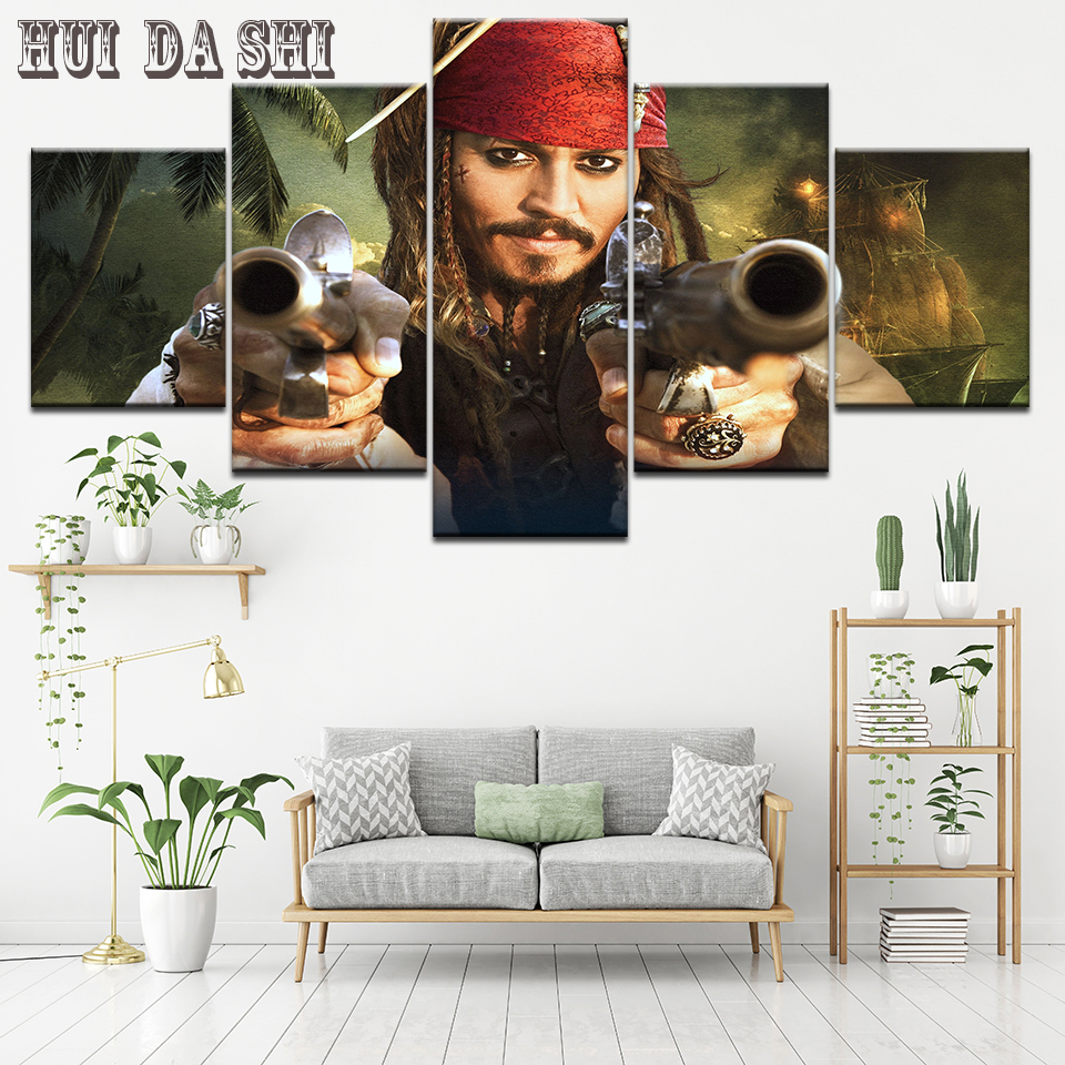 5Piece Wall Art Pirates of the Caribbean Movie Poster HD Painting Canvas Print Modern Home Decor Picture for Living Room Artwork