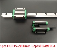 1pcs linear guide rail HGR15 2000mm + 2pcs HGW15CA/HGW15CC linear Carriage blocks for CNC router parts Made in China