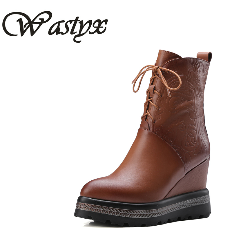 Wastyx Big size 34-42 women height increasing boots wedge high heel boots platform genuine leather boots women Drop shipping nayiduyun women genuine leather wedge high heel pumps platform creepers round toe slip on casual shoes boots wedge sneakers