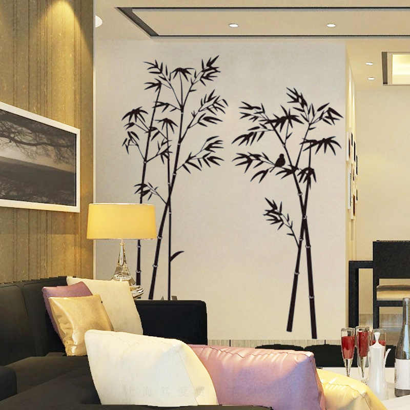 Ink Painting Black Bamboo Wall Stickers Vinyl Diy Wall Decals For Living Room Sofa Background Wall Study Home Decoration Murals Wall Stickers Aliexpress