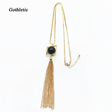 Gothletic Gold-color Zinc Alloy 27 Inches Box Chain Long Geometric Tassel Orb Necklaces & Pendants Unisex Jewelry