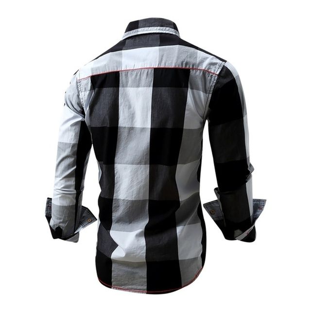 Mens Long Sleeve Shirt Slim Casual Cotton