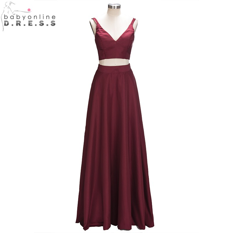 Robe de Soiree Longue Charming Two Pieces V Neck Long   Prom     Dresses   Sexy Burgundy Tank Style Sleeveless Simple Party Gowns