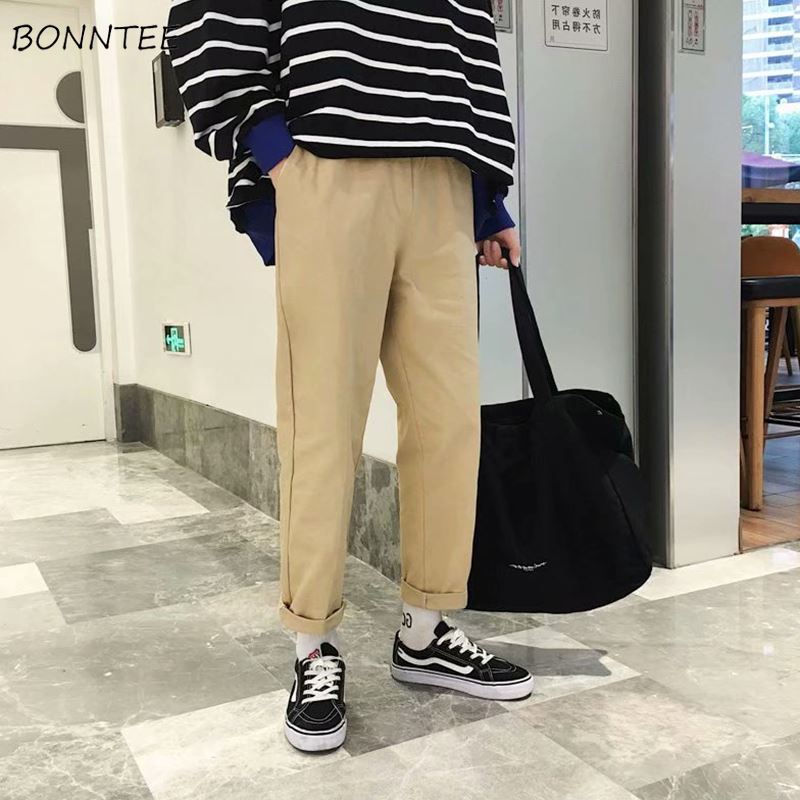 Pants Men Straight Pant Loose Drawstring Solid Simple Leisure Mens Korean Style High Quality Comfortable Full Length Trousers