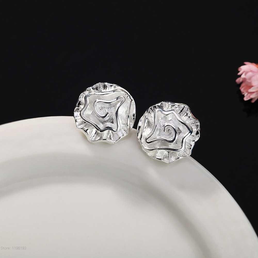 אמיתי 925 חותמת כסף מצופה תכשיטי נשים אופנה חמוד זעיר רוז פרח עגילי מתנת ילדה אביזרי תכשיטים יפה