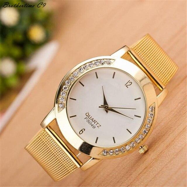 4aafa2f1fa4 2018 Mulheres Da Moda Cristal de Ouro de Aço Inoxidável Quartzo Analógico  Relógio de Pulso Pulseira
