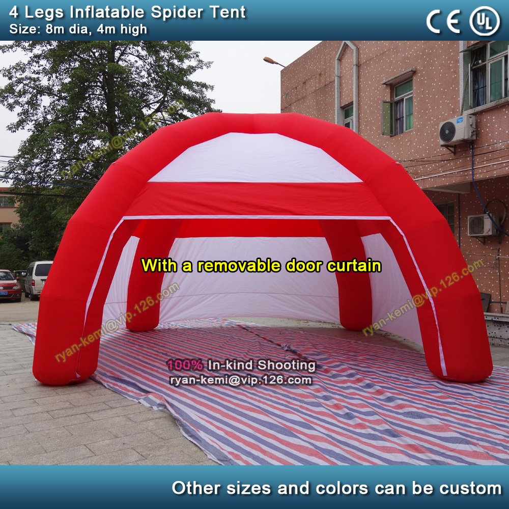 8m 4 legs inflatable spider <font><b>tent</b></font> with removable door inflatable air dome marquee inflatable exhibition <font><b>tent</b></font> <font><b>car</b></font> shelter <font><b>garage</b></font> image