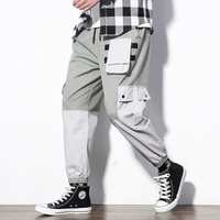 Cargo Pants Men Cotton Polyester Stitching Color Pants Male With Many Pockets Ankle Elastic Men New Casual Pants m 5xl Size 2019