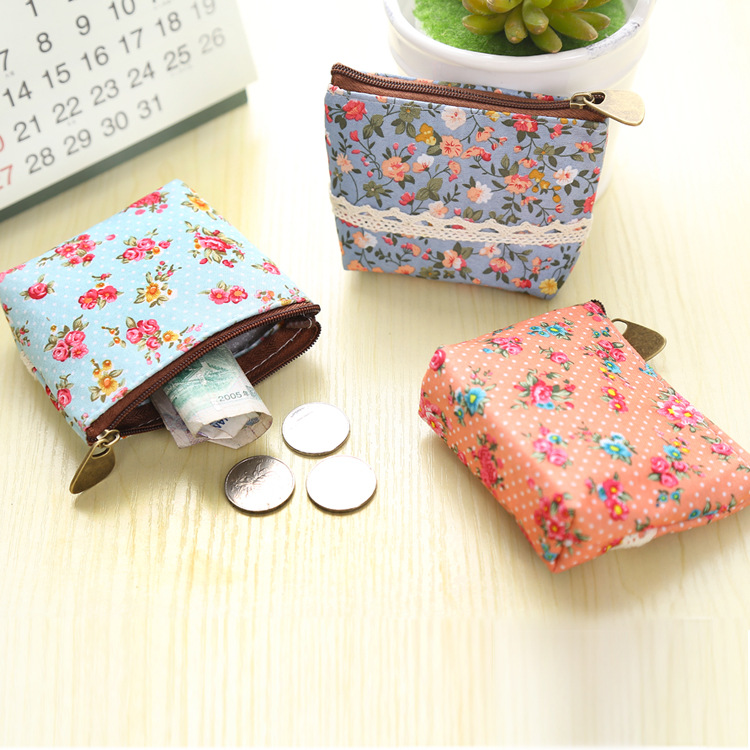 2017 New Women Purses Cute Zipper Small flower Bag female Girl Headset Line Coin Purse Card Bag Clutch Wallet key bags Wholesale lacoste w15112620435
