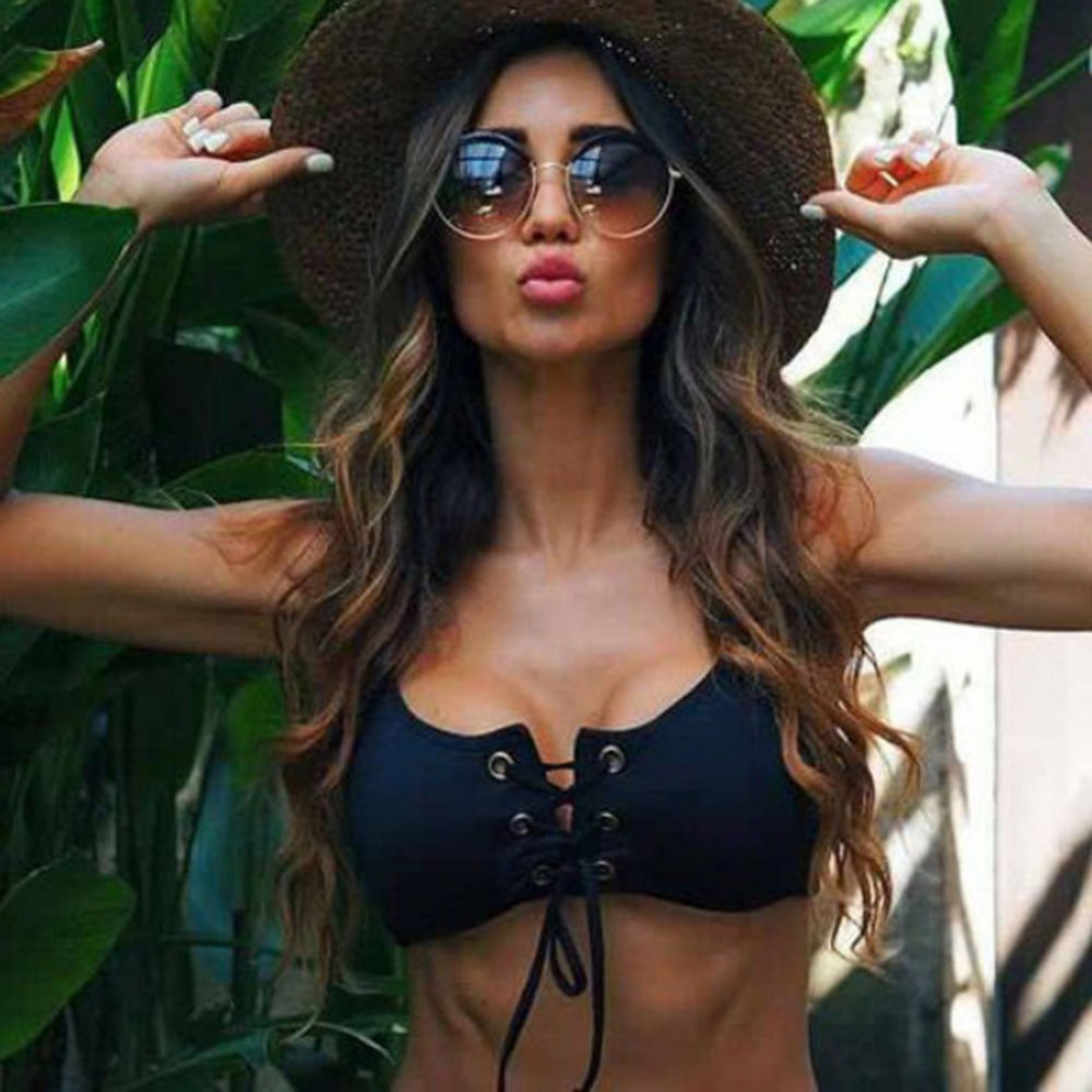Black Push Up Drawstring Bikini Two Piece With Drawstring Bottoms  4