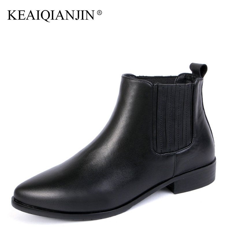 KEAIQIANJIN Woman Genuine Leather Ankle Boots Plus Size 33 - 43 Black Plush Boots Autumn Winter Fashion Genuine Leather Shoes keaiqianjin woman genuine leather martens boots black beige plus size 33 43 autumn winter shoes genuine leather ankle boots