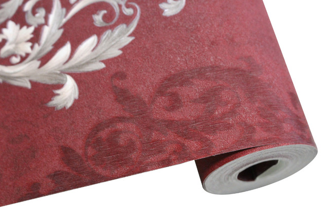 HaokHome Vintage Distressed Damask 3d Wallpaper Vinyl Crimson Red/Silver Retro Textured For Living room Home Wall Decoration