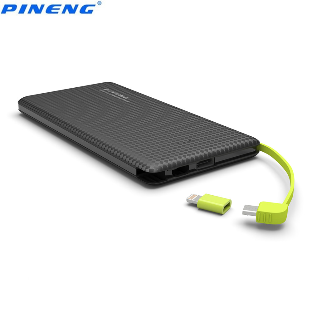 bilder für Original pineng pn 951 power bank10000mah dual usb eingebauten ladekabel externes ladegerät für iphone 6s xiaomi android