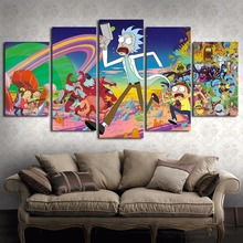 Home Decor Canvas Living Room HD Printed Modern 5 Panel Cartoon Rick And Morty Pictures Painting Wall Art Modular Poster Frame