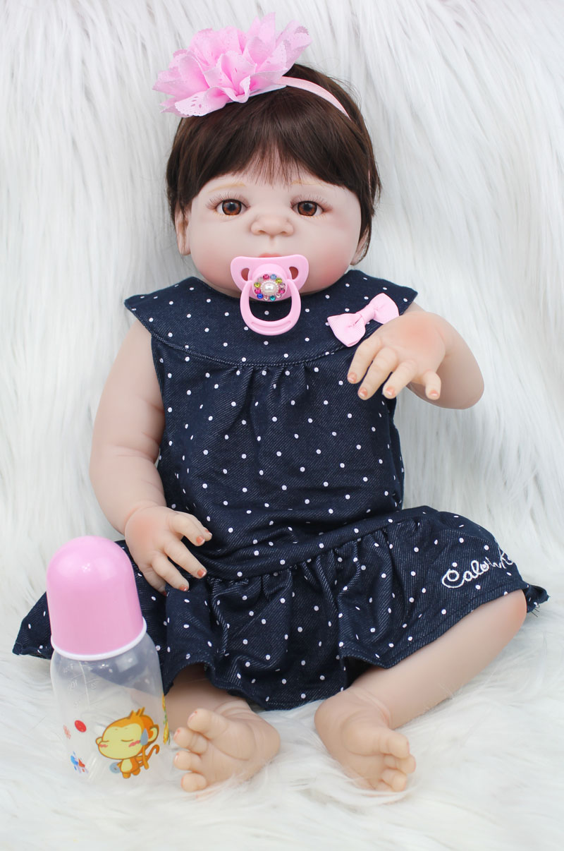 55cm Full Silicone Reborn Baby Doll 22 Vinyl Newborn Princess Girl Toddler Doll with Blue Long