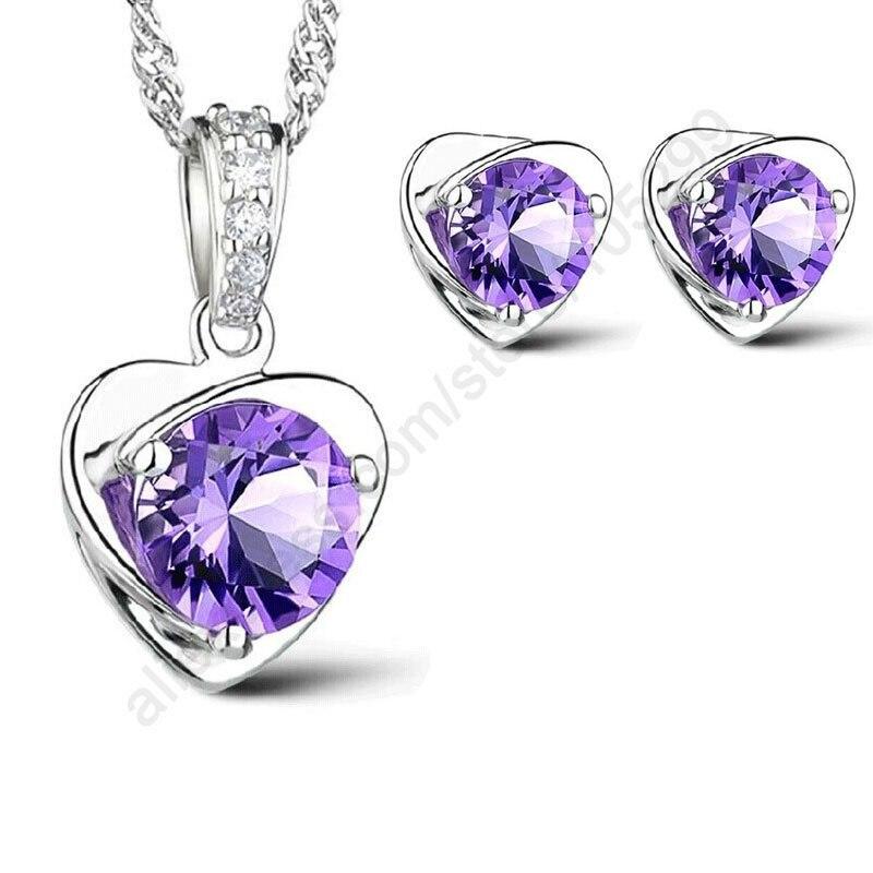 JEXXI Purple Jewelry Sets Women Gift Jewelry Sets 925 Sterling Silver CZ Cubic Zircon Heart Necklace Stud Earrings Stock Sale