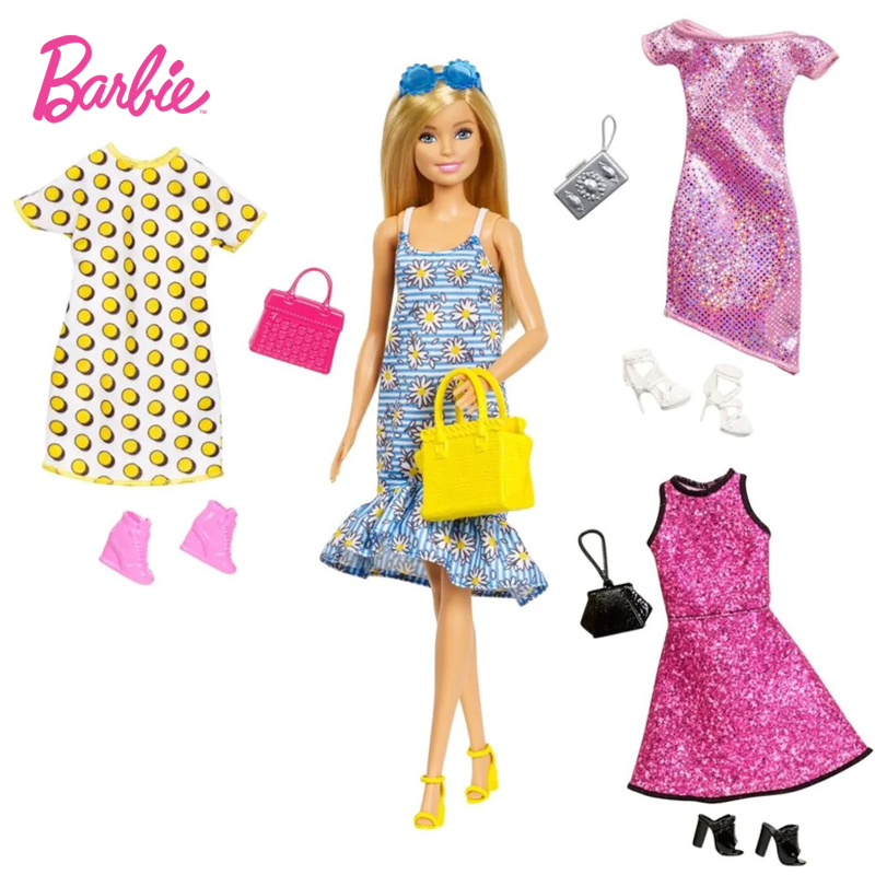Barbie Brand Doll Toy Pretty Girl Pretend Doll With Clothes Accessories Different Skirt For Children Birthday