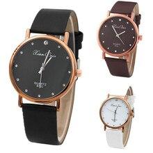 Women Wrist Watch Diamond Case Leatheroid Band Quartz Analog Watches