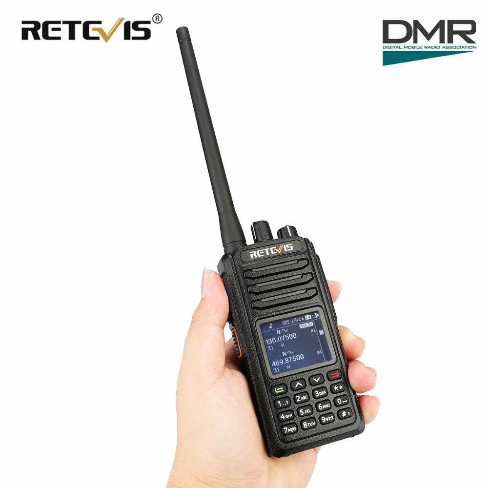 RETEVIS RT52 DMR Radio Digital Walkie Talkie Dual PTT Dual Band DMR VHF UHF GPS Two Way Radio Encrypted Ham Amateur Radio Cable in Walkie Talkie from Cellphones Telecommunications
