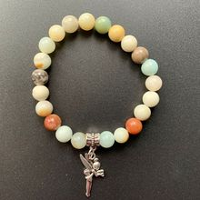 Natural Amazonite Stone Carved Round Sphere Beads Tibetan Silver Metal Angel Decoration Pendant Stretch Bracelet 8mm 1pc