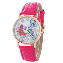 Crimson and Blue Butterfly Sample Leather-based Belt Watch Ladies Style Quartz Wrist Watch Women College students Gown Watch
