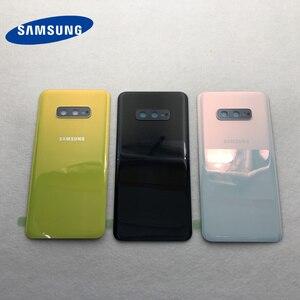 Image 1 - סוללה זכוכית כריכה אחורית עבור Samsung Galaxy S10e G970 G970F SM G970F אחורי דלת שיכון כיסוי עם מצלמה עדשה עמיד למים דבק